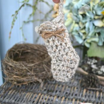 Mini Stocking Ornament-Wool-Birch Tweed